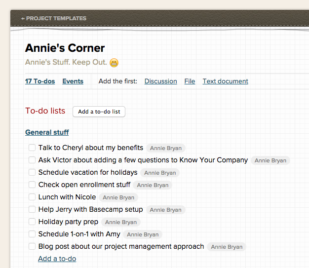 Basecamp for Project manager email templates