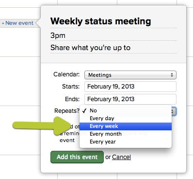new in basecamp recurring events